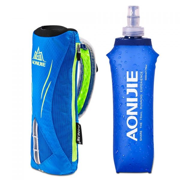 AONIJIE New Waterpoof Hand-held Sport Kettle Pack Outdoor Marathon Running Phone Bag for 5.5 inch Phone/500mL Soft Water Flask